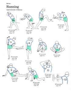 Tabla de estiramientos para ANTES de correr